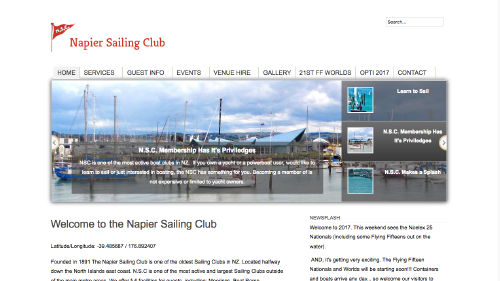 Napier Sailing Club Inc. website built by iSystems