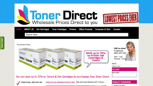Toner Direct website built by iSystems
